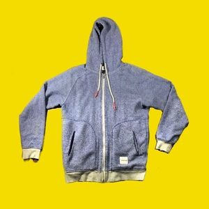 Supremebeing zip up size large blue sweater